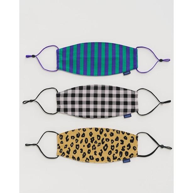 Baggu 3-Pack Reusable Cotton Face Masks Gingham, Leopard And Stripes