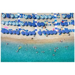 "Gray Malin Positano Blue Umbrellas Fine Art Print – 11.5"" x 17"""