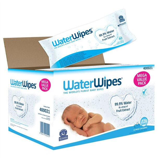 WaterWipes Hypoallergenic Baby Wipes with Purified Water and Grapefruit Seed Extract - 720 Pack