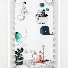 Rookie Humans Mini Crib Sheet Underwater Love