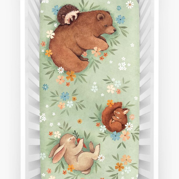 Rookie Humans Fitted Crib Sheet - Enchanted Meadow
