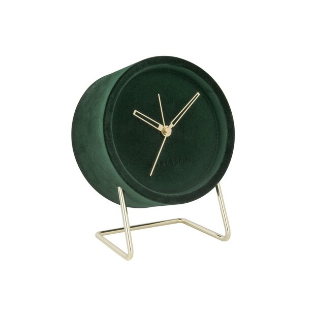 Karlsson Lush Velvet Alarm Clock - Dark Green