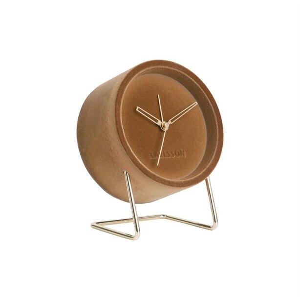 Karlsson Lush Velvet Alarm Clock - Caramel Brown