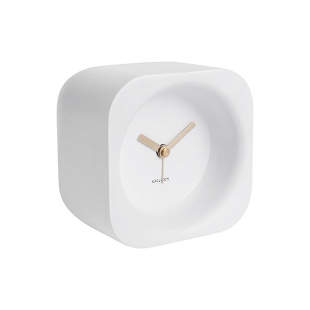 Karlsson Chunky Poly Resin Alarm Clock - Matte White