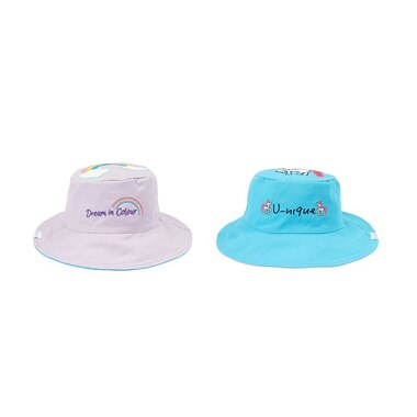 "FlapJackKids® Reversible Sun Hat ""Dream in Colour"" Rainbow/""U-Nique"" Unicorn"