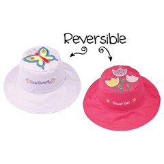 KIDS REVERSIBLE SUNHAT, PURPLE BUTTERFLY/PINK FLOWER LARGE