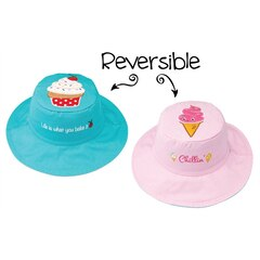 KIDS REVERSIBLE SUNHAT, BLUE CUPCAKE/PINK ICE CREAM LARGE