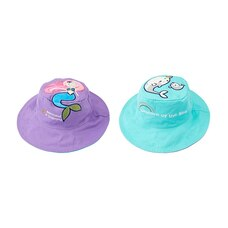 "FlapJackKids® Reversible Sun Hat ""Mermaid in Training""/""Unicorn of the Sea"""