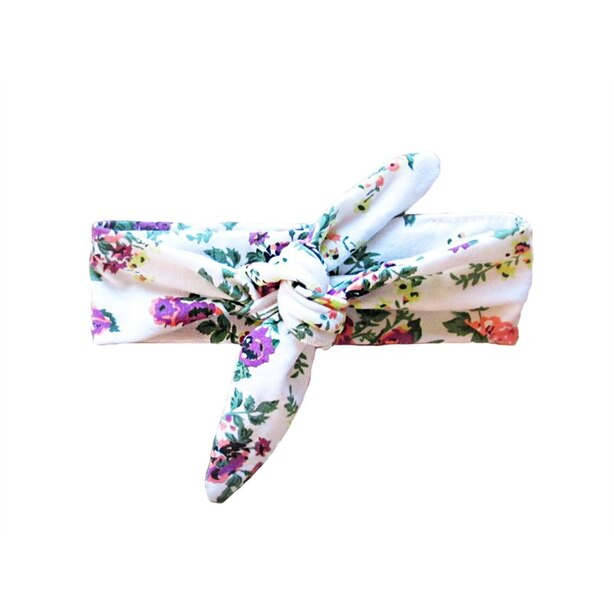 Baby Wisp Top Knot Headband, White Floral Print 3m+
