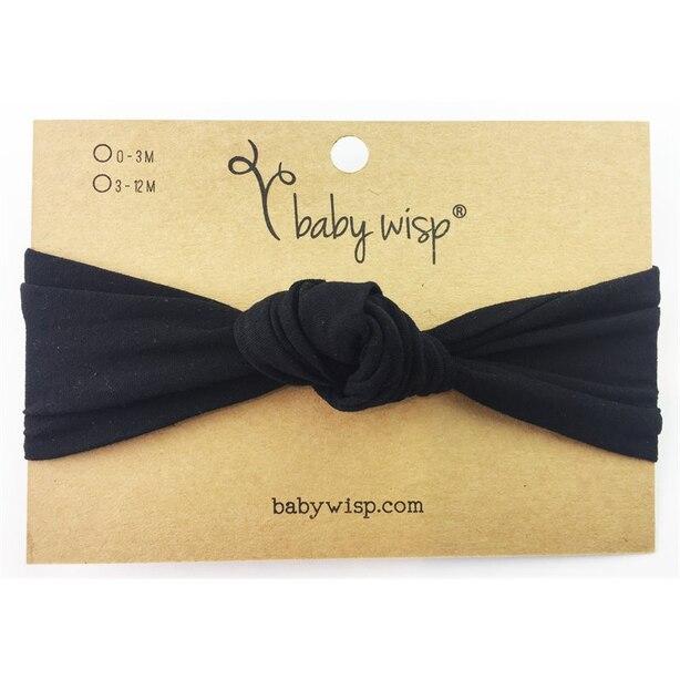 Baby Wisp® Baby Headband Nylon Turban Knot Black 3 Months Plus