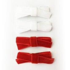 Baby Wisp Velvet Hand Tied Bows 4 Pack - Red/White