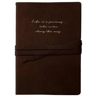 Life Journey Dark Brown Leather Wrap Journal