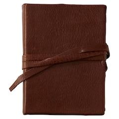 Betty Mini Leather Wrap Journal - Dark Brown