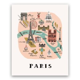 Rifle Paper Co. Paris Map Art Print - 8x10