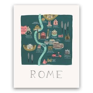 Rifle Paper Co. Rome Map Art Print - 8x10