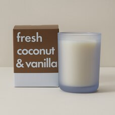 POURED GLASS CANDLE FRESH COCONUT AND VANILLA