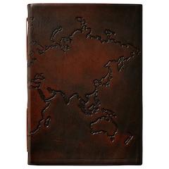 Journal en cuir avec motif de carte géographique