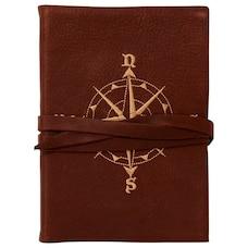 Journal en cuir gaufré boussole