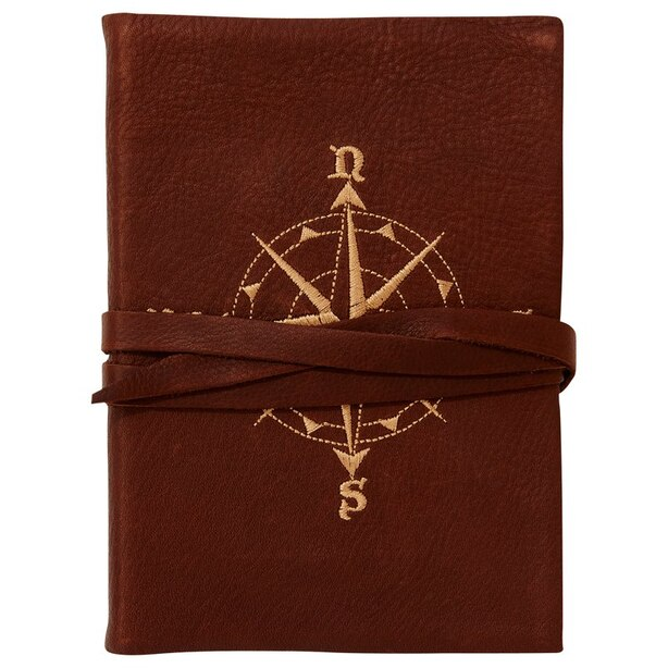 Embroidered Compass Leather Wrap Journal