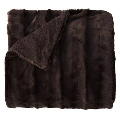 Cozy Faux Fur Throw - Solid Backing, Dark Grey