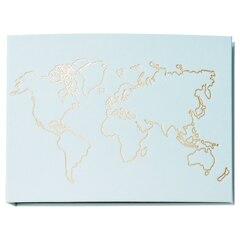 Large Linen Photo Album - Map Light Blue