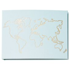 Large Linen Photo Album - Map Light Blue