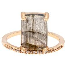 Melanie Auld® Emerald Cut Stacking Ring - Labradorite & Gold, Size 6