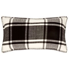 "MacDuffies Plaid Pillow Cover – Black & White, 12"" x 21"""