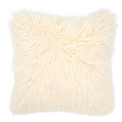 "Mongolian Faux Fur Pillow Cover - Ivory, 18"" x 18"""