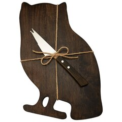 OWL CHEESEBOARD WITH SERVING KNIFE