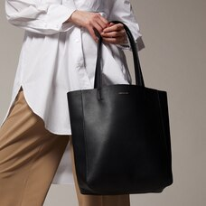 Heather North-South Tote - Black