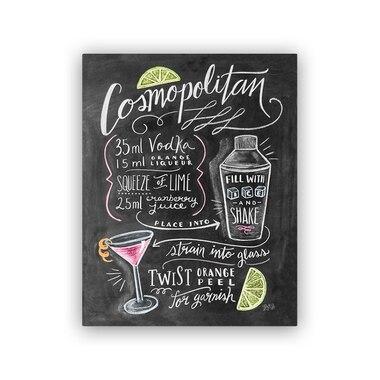 "Lily and Val® Cosmopolitan Recipe Art Print - 8"" x 10"""