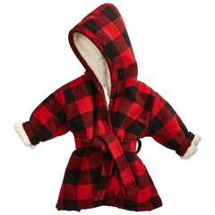 Cabin Cozy Bath Robe - Buffalo Check, Red, 4-5 Years