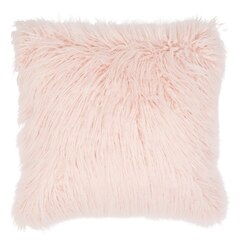 "Mongolian Faux Fur Pillow Cover – Blush, 18"" X 18"""