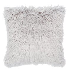 "Mongolian Faux Fur Pillow Cover – Silver Grey, 18"" X 18"""