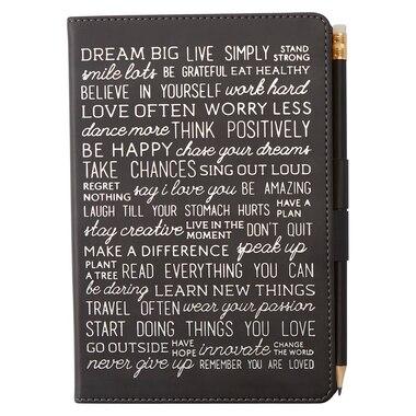 Pen Loop Journal - Live Simply, Black