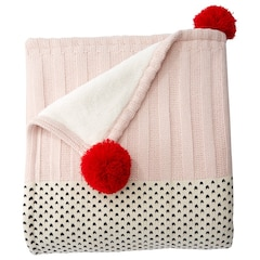 Pom-Pom Colourblock Knit Sherpa Throw – Red