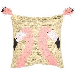 """Flamingos Natural Woven Pillow Cover – 18"""" x 18"""""""