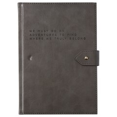 Large Button Journal - Where We Truly, Grey