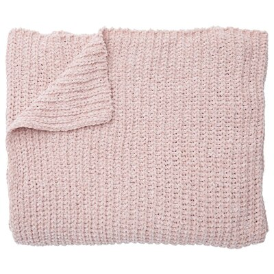Knit Chenille Throw in Rose