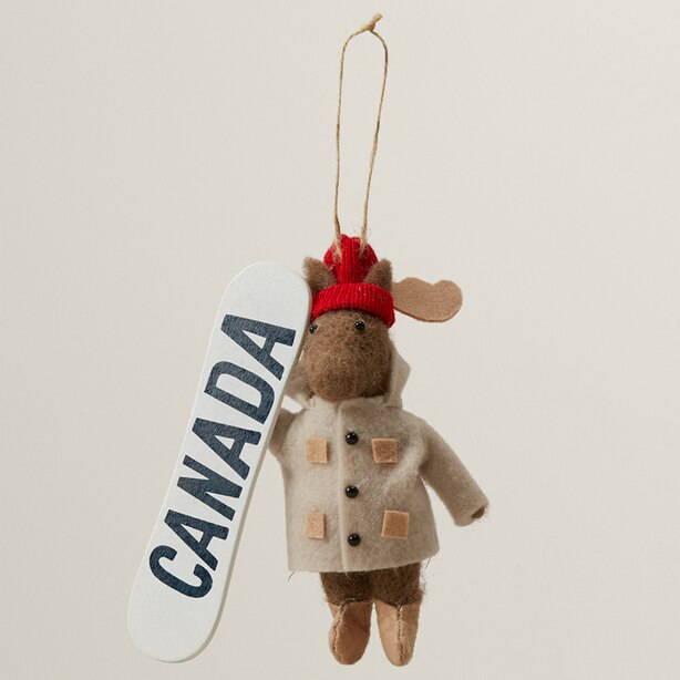 WOOL ORNAMENT SNOWBOARD MOOSE