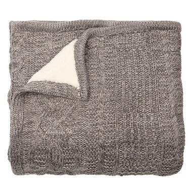 437bffccc THROW CABLE-KNIT SHERPA GREY by Indigo | Throws Gifts | www.chapters ...
