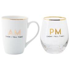 AM AND PM MUG-AND-WINE SET