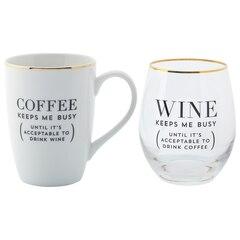 COFFEE KEEPS ME BUSY MUG-AND-WINE SET