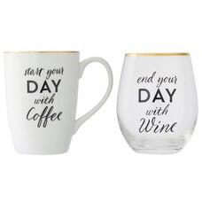 START AND END MUG-AND-WINE SET