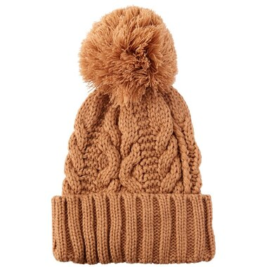 LOVE AND LORE NORTHERN CABLE-KNIT POM POM HAT CAMEL by Love   Lore  45af9d46a18