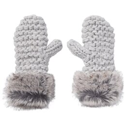 LOVE AND LORE GRANDE PURL-KNIT MITTENS PALE GREY