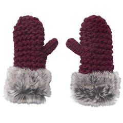 LOVE AND LORE GRANDE PURL-KNIT MITTENS MERLOT