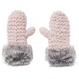 LOVE AND LORE GRANDE PURL-KNIT MITTENS DUSTY PINK