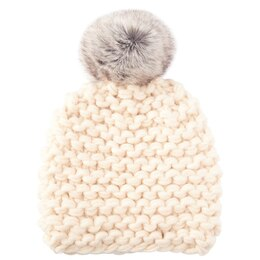 LOVE AND LORE GRANDE PURL-KNIT HAT ANTIQUE WHITE